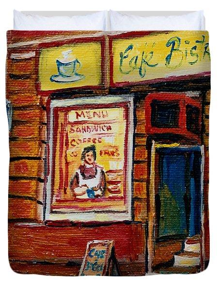 Cafe Bistro St. Viateur Duvet Cover by Carole Spandau