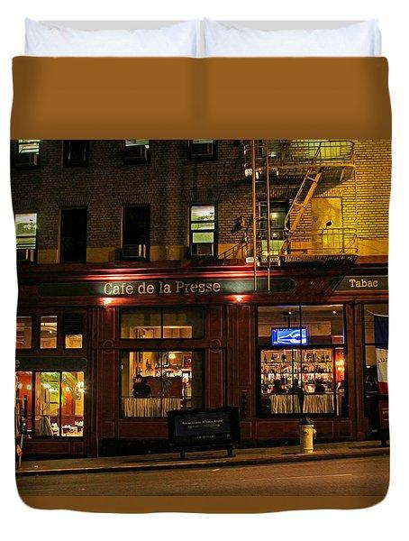 Cafe De La Presse On Bush St Duvet Cover