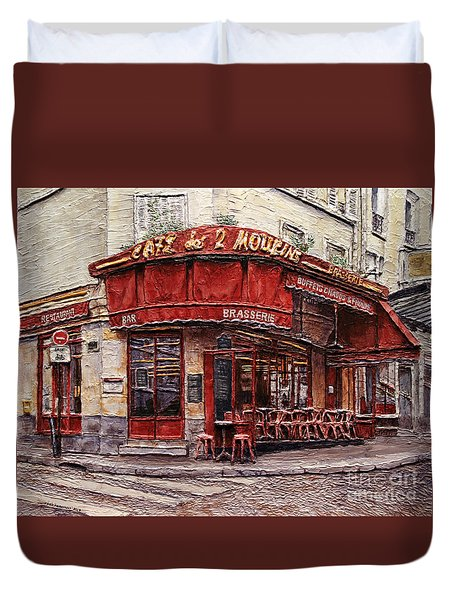 Cafe Des 2 Moulins- Paris Duvet Cover