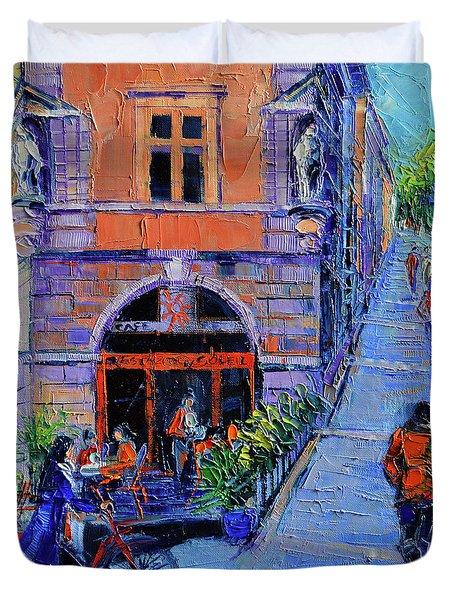 Cafe Du Soleil Lyon Duvet Cover