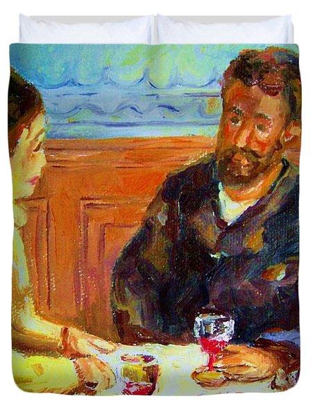 Cafe  Homage  De Pierre Auguste Duvet Cover by Carole Spandau