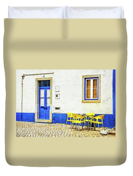 Cafe In Portugal Duvet Cover by Marion McCristall