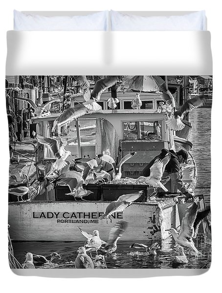 Cafe Lady Catherine Black And White Duvet Cover