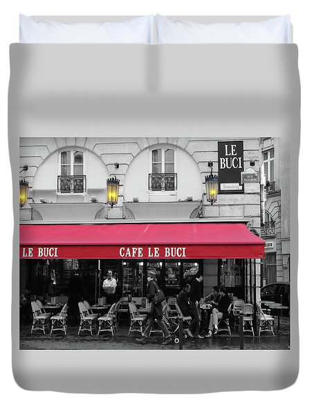 Cafe Le Buci Duvet Cover by Tom Reynen