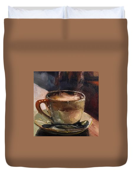 Cafe Love Coffee Painting Duvet Cover by Michele Carter