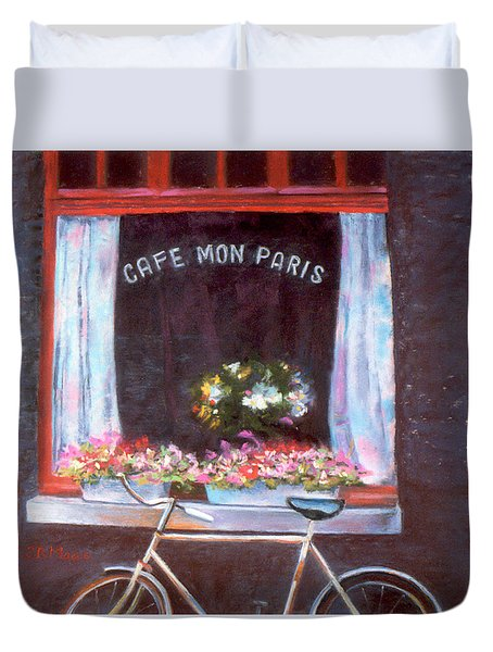 Cafe Mon Paris Duvet Cover