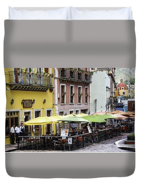 Cafe Of Pretty Umbrellas  Duvet Cover