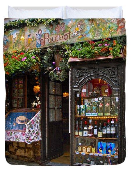 Cafe Poulbot Duvet Cover