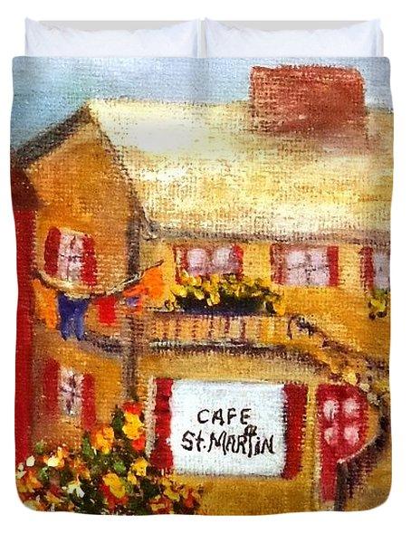 Cafe St.martin Duvet Cover by Annie St Martin