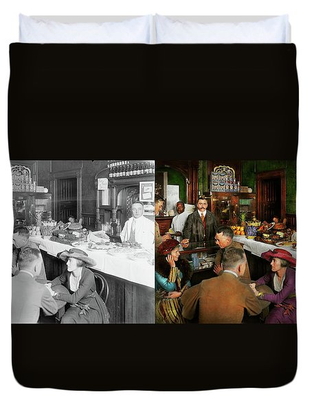 Duvet Cover featuring the photograph Cafe - Temptations 1915 - Side By Side by Mike Savad