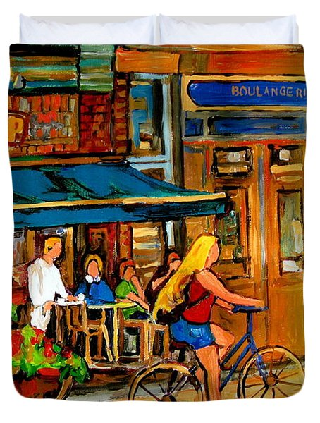 Cafes With Blue Awnings Duvet Cover by Carole Spandau