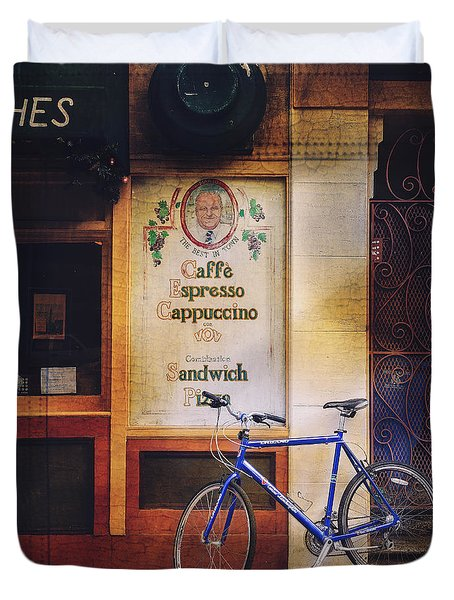 Caffe Expresso Bicycle Duvet Cover
