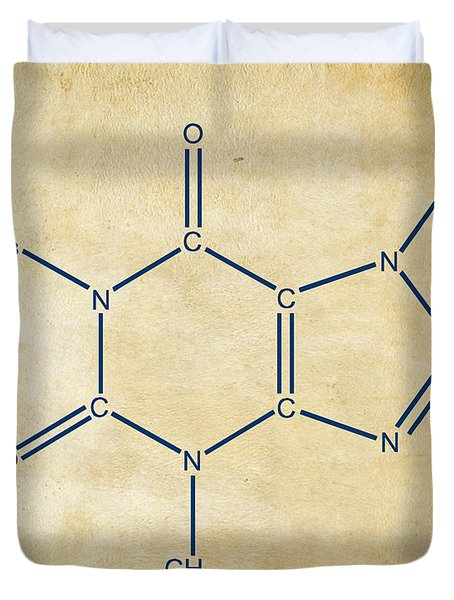 Duvet Cover featuring the digital art Caffeine Molecular Structure Vintage by Nikki Marie Smith