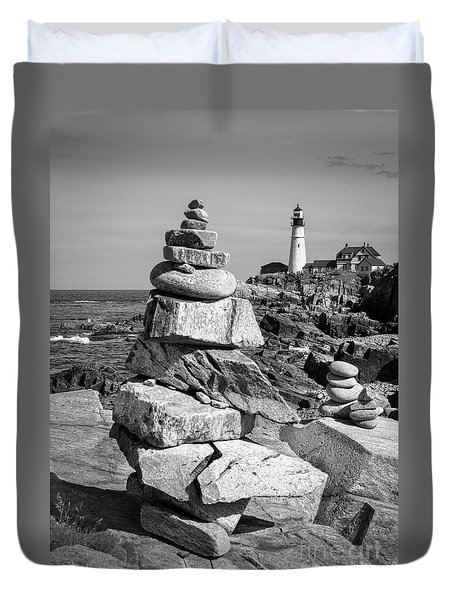 Cairn And Lighthouse  -56052-bw Duvet Cover