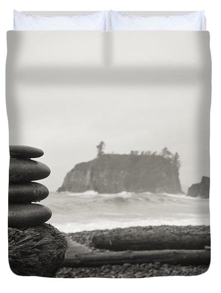 Cairn On A Beach Duvet Cover