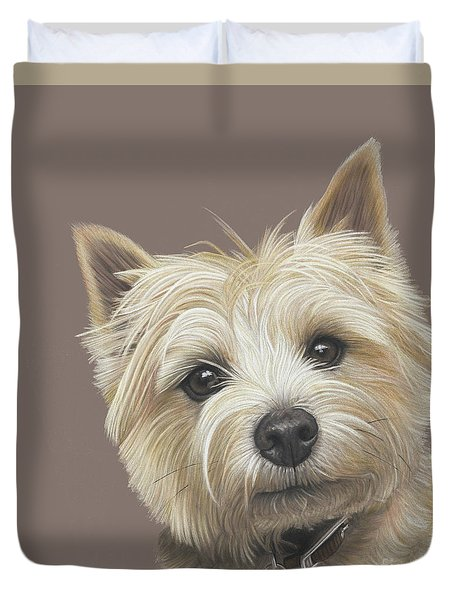 Duvet Cover featuring the painting Cairn Terrier - Dave by Donna Mulley