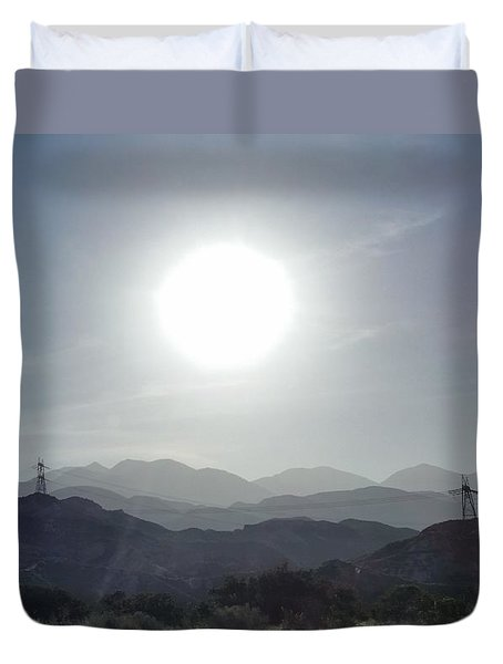 Cajon Pass Sunset Duvet Cover