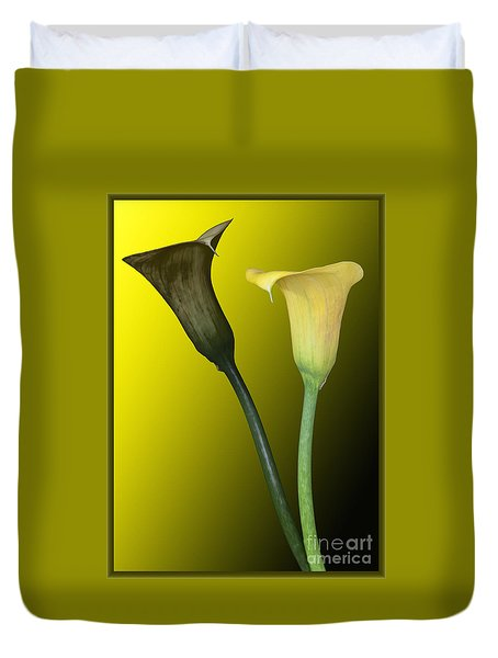 Duvet Cover featuring the photograph Cala Lilies Opposites by Shirley Mangini