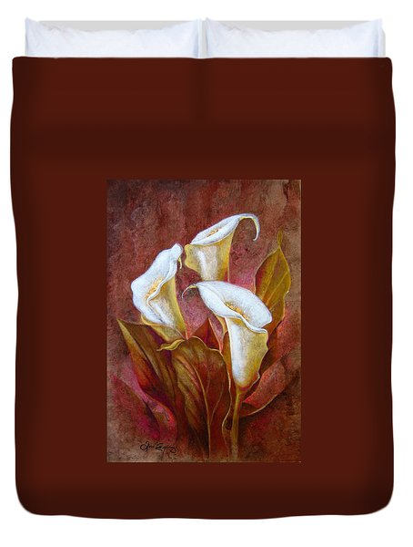 Cala Lillies Bouquet Duvet Cover