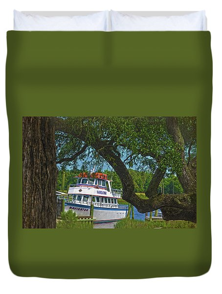 Calabash Deep Sea Fishing Boat Duvet Cover by Sandi OReilly