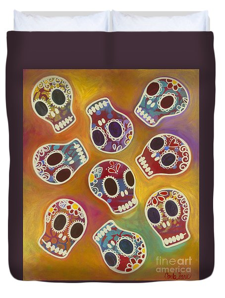 Calaberitas Day Of The Dead Skulls Duvet Cover by Carla Bank