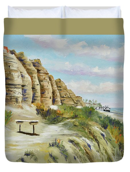 Duvet Cover featuring the painting Calafia Beach Trail by Mary Scott