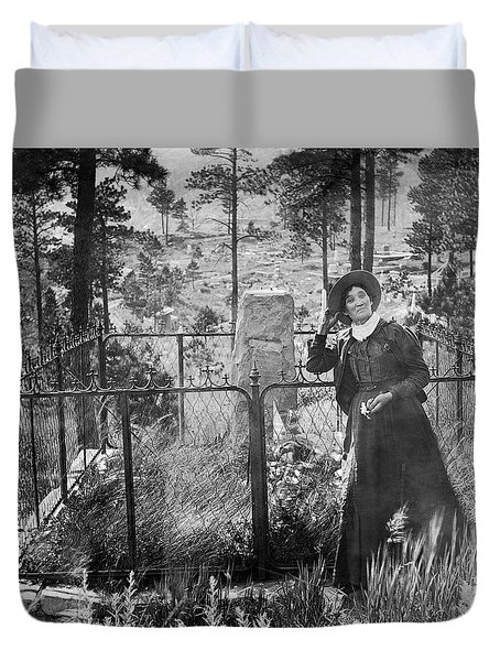 Duvet Cover featuring the photograph Calamity Jane At Wild Bill Hickok's Grave 1903 by Daniel Hagerman