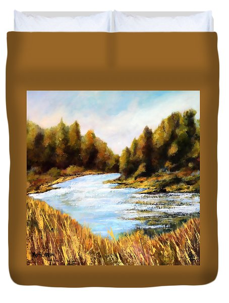 Duvet Cover featuring the painting Calapooia River by Marti Green