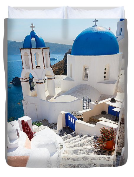 Caldera With Stairs And Church At Santorini Duvet Cover by Anastasy Yarmolovich