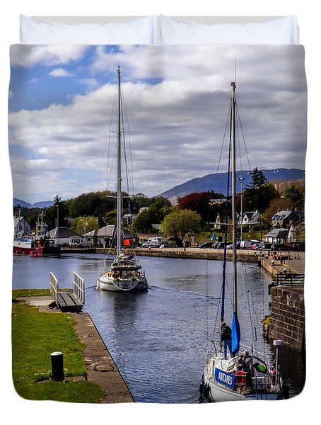 Duvet Cover featuring the photograph Caledonian Canal Scotland by Lynn Bolt
