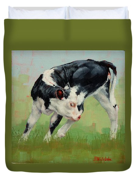 Duvet Cover featuring the painting Calf Contortions by Margaret Stockdale