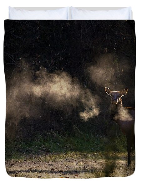Duvet Cover featuring the photograph Calf Elk In December by Michael Dougherty