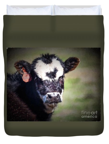 Duvet Cover featuring the photograph Calf Number 444 by Laurinda Bowling