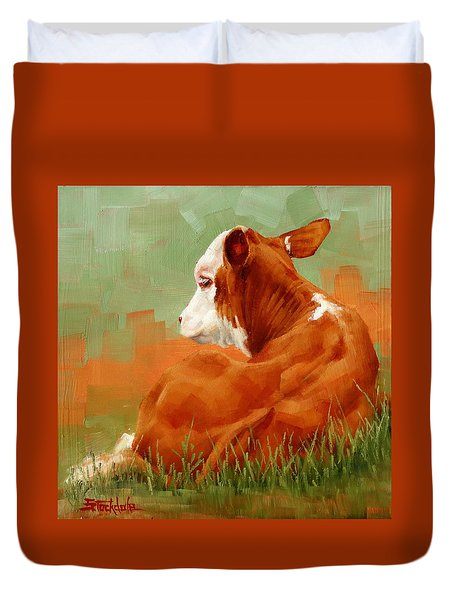 Duvet Cover featuring the painting Calf Reclining by Margaret Stockdale