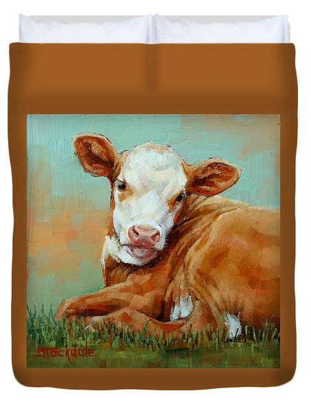 Duvet Cover featuring the painting Calf Resting by Margaret Stockdale
