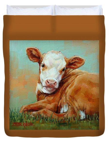Calf Resting Duvet Cover by Margaret Stockdale