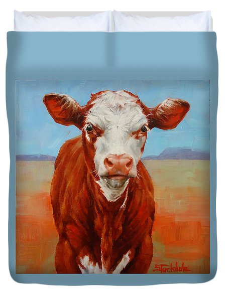 Duvet Cover featuring the painting Calf Stare by Margaret Stockdale