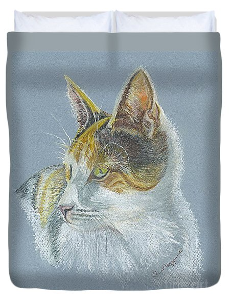 Duvet Cover featuring the drawing Calico Callie by Carol Wisniewski