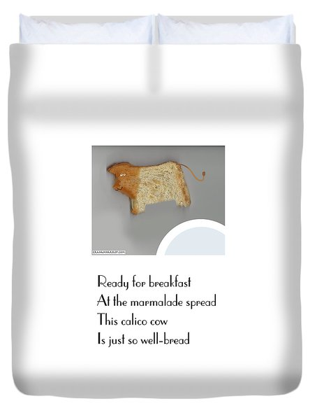 Duvet Cover featuring the digital art Calico Cow by Graham Harrop