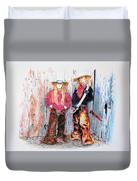 Calico Cowgirls Duvet Cover