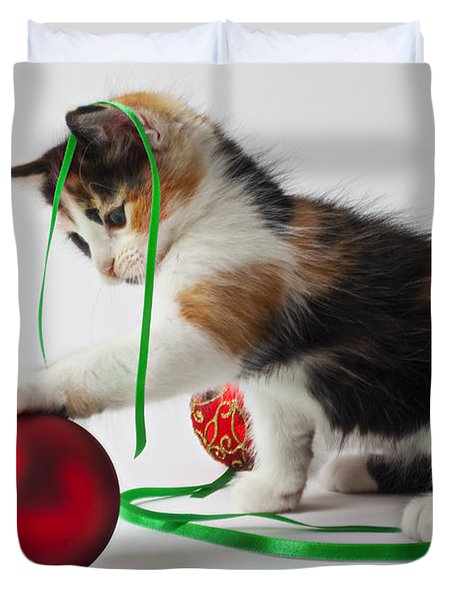 Calico Kitten And Christmas Ornaments Duvet Cover