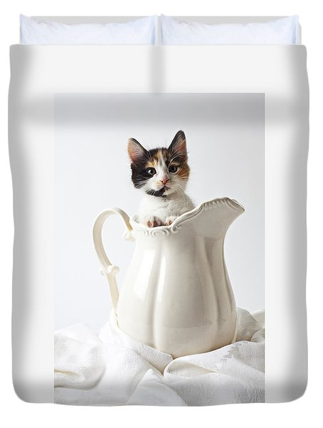 Calico Kitten In White Pitcher Duvet Cover by Garry Gay