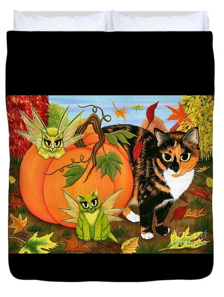 Calico's Mystical Pumpkin Duvet Cover