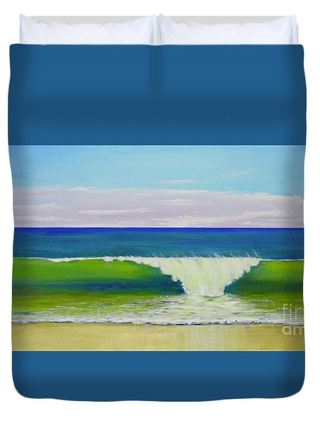 Duvet Cover featuring the painting Califia Beach by Mary Scott