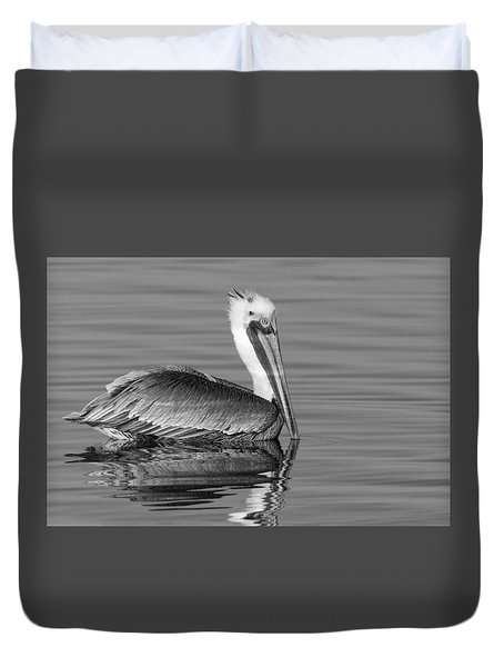 Duvet Cover featuring the photograph California Brown Pelican - Black And White - Monochrome by Ram Vasudev