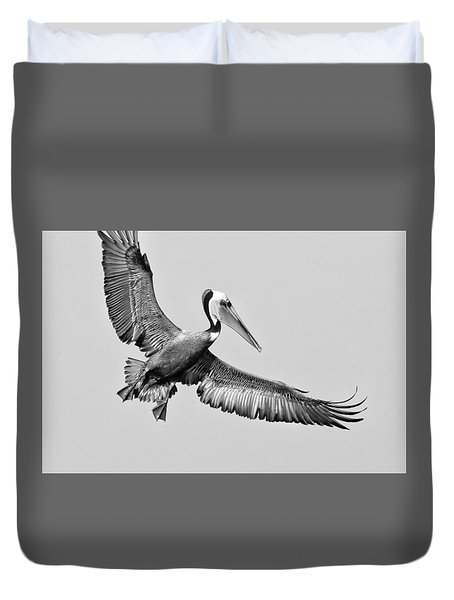Duvet Cover featuring the photograph California Brown Pelican With Stretched Wings - Black And White - Monochrome by Ram Vasudev