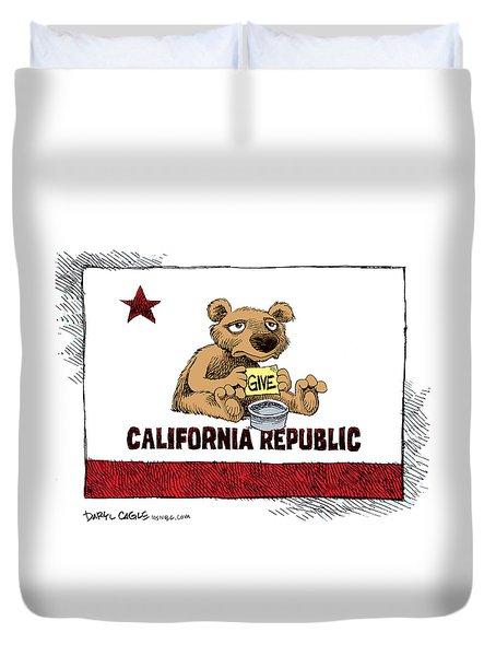 California Budget Begging Duvet Cover