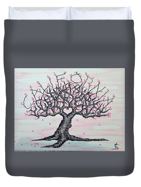 Duvet Cover featuring the drawing California Cherry Blossom Love Tree by Aaron Bombalicki