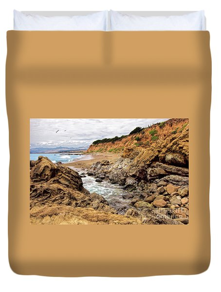 California Coast Rocks Cliffs And Beach Duvet Cover by Dan Carmichael