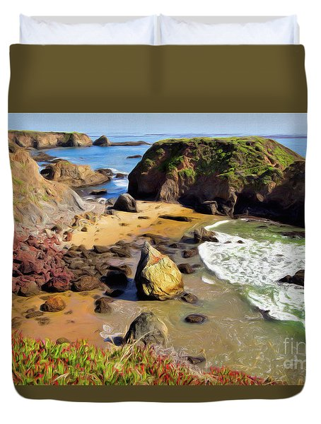 California Coast Rocks Cliffs Iceplant Ap Duvet Cover by Dan Carmichael